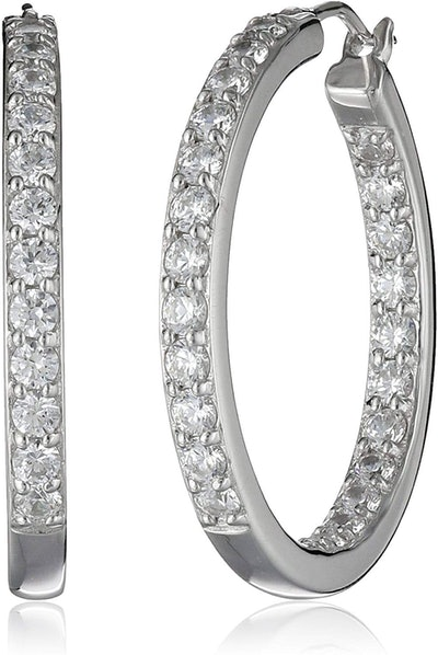 Amazon Collection Sterling Silver Inside-Out Hoop Earrings