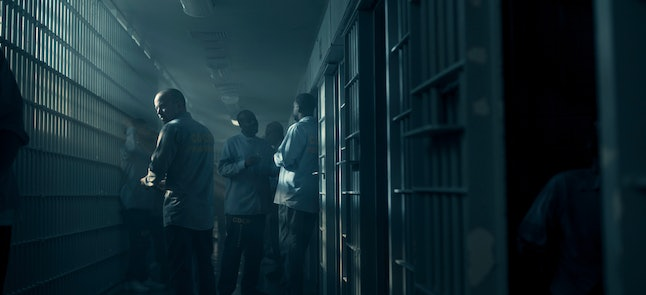 Aaron Paul as Warren Cave in prison in Truth Be Told