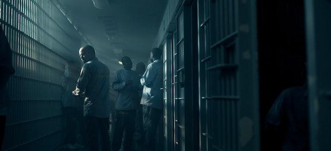 Aaron Paul as Warren Cave in prison in Truth Be Told