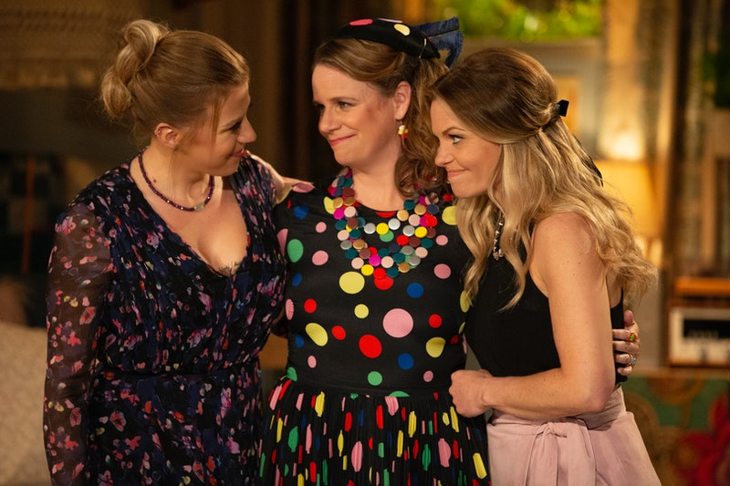 Jodie Sweetin as Stephanie, Andrea Barber as Kimmy, and Candace Cameron Bure as DJ in Fuller House