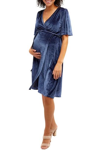 Nom Maternity Genevieve Velvet Maternity/Nursing Dress