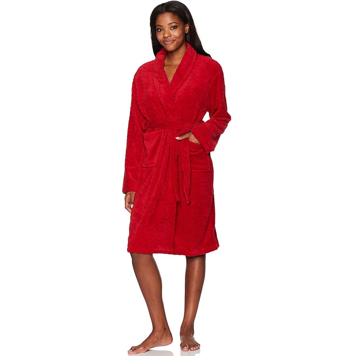 Hotel Spa Herringbone Textured Plush Robe