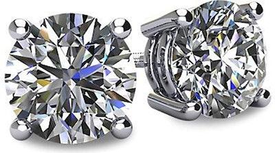 Central Diamond Center 14K Gold Swarovski Pure Brilliance Stud Earrings
