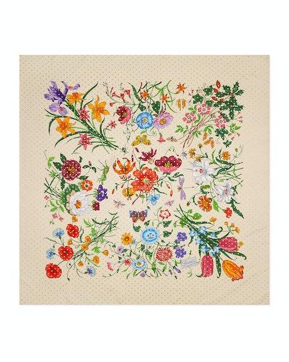 Flora Stars Print Silk Twill Scarf