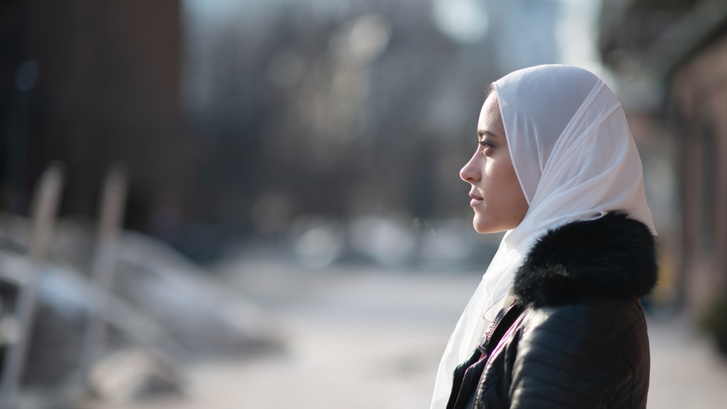 Woman in headscarf having the worst winter day