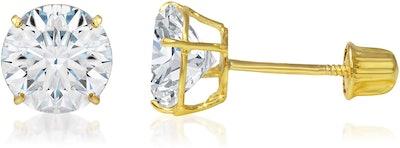Ioka 14K Gold Round Solitaire Cubic Zirconia Stud Earrings