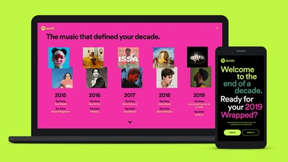 You can view your Spotify 2019 Wrapped and Decade Wrapped playlists on the app or in a browser.