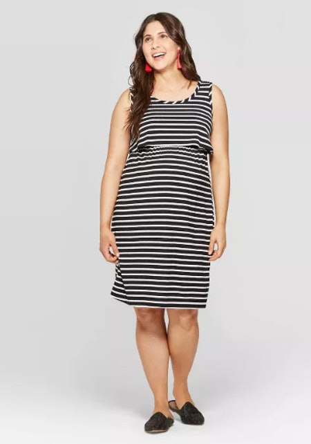 Ingrid & Isabel Maternity Striped Sleeveless Round Neck Double Layer Nursing Dress
