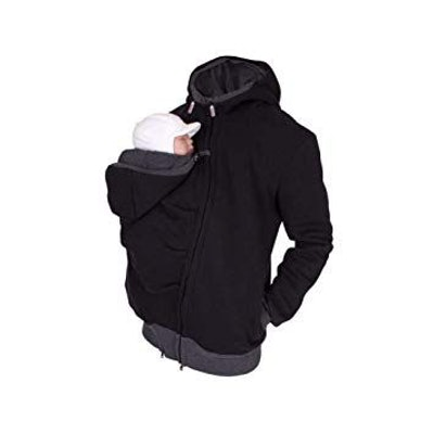 Per 2 in 1 Multi-Function Kangaroo Hooded Men's Sweater with Baby Carrier Pocket