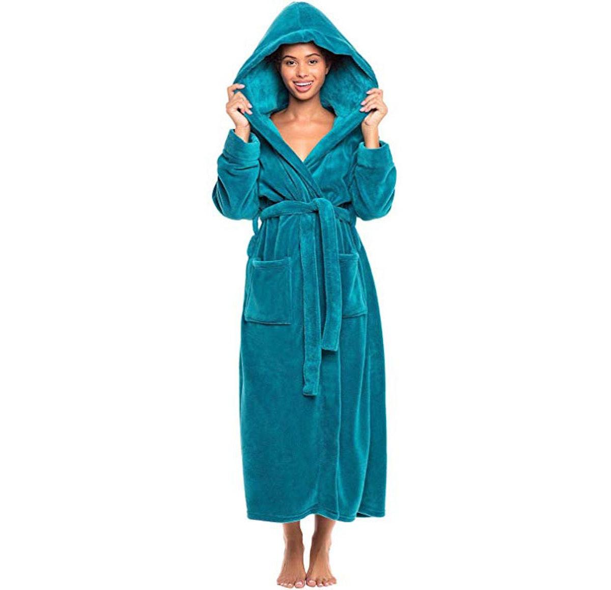 Alexander Del Rossa Plush Fleece Bathrobe With Hood