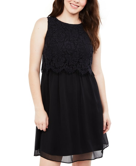 Motherhood Maternity Tiered Lace Nursing Dress