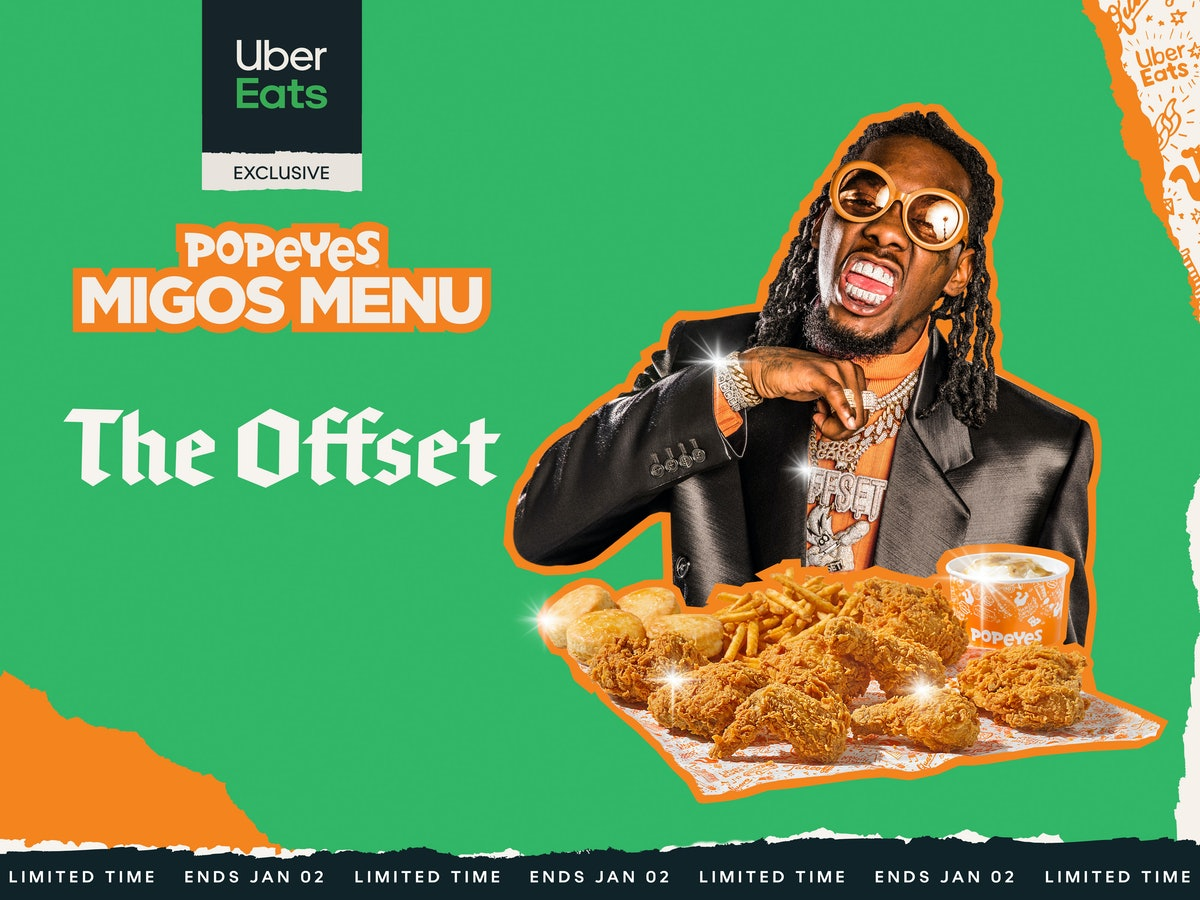 Popeyes' Migos Menu Includes four different menu options inspired by the members favorite menu items.