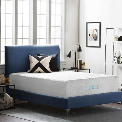 LUCID Plush Gel Memory Foam and Latex Four-Layer-Infused with Bamboo Charcoal Mattress
