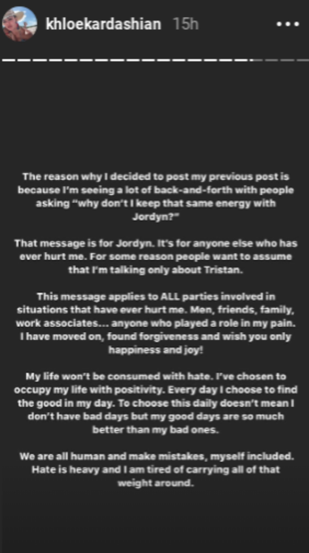 Khloe Kardashian's message of forgiveness to Jordyn Woods