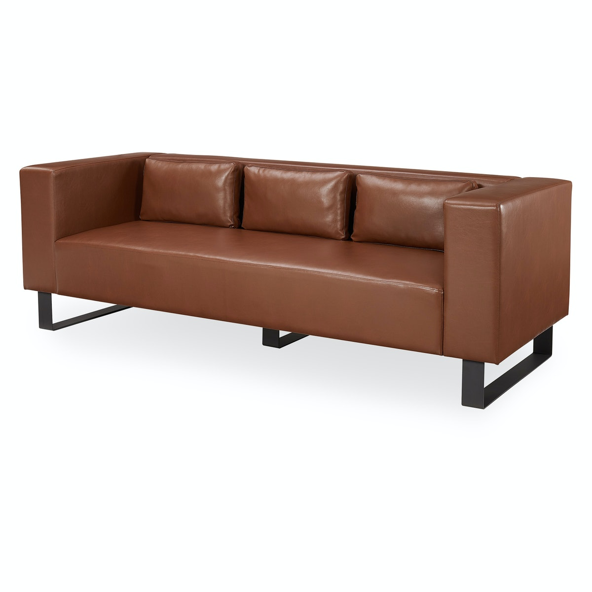 """MoDRN Refined Industrial Atoll Metal Base 87"""" Sofa, Multiple Colors"""