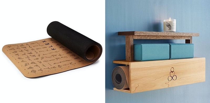 A yoga mat and a yoga storage unit make great gifts for yoga lovers.