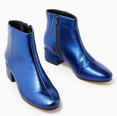 Metallic Low Block Heel Ankle Boots