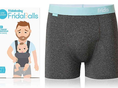 Fridababy Fridaballs briefs package next to an image of the briefs up close