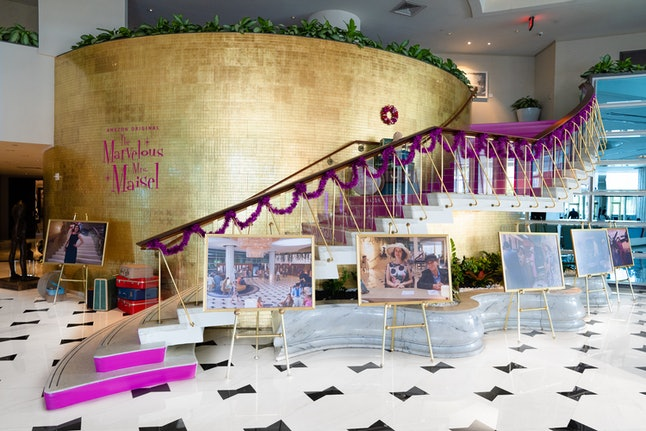 The Fontainebleau Hotel lobby decorated for The Marvelous Mrs. Maisel Season 3 premiere