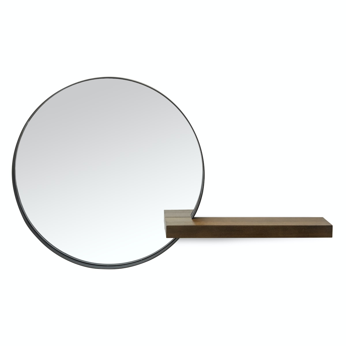MoDRN Naturals Metal Framed Round Decorative Wall Mirror With Wood Shelf