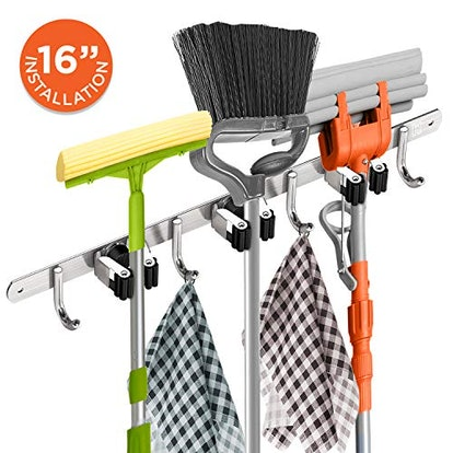 Homely Center Mounted Mop And Broom Holder