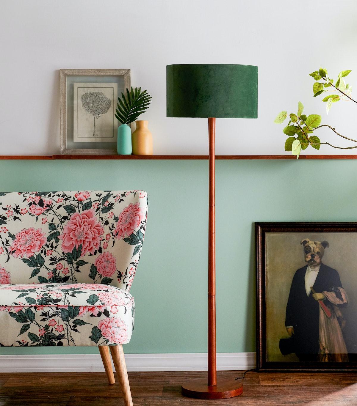 Wood Floor Lamp with Green Velvet Shade by Drew Barrymore Flower Home