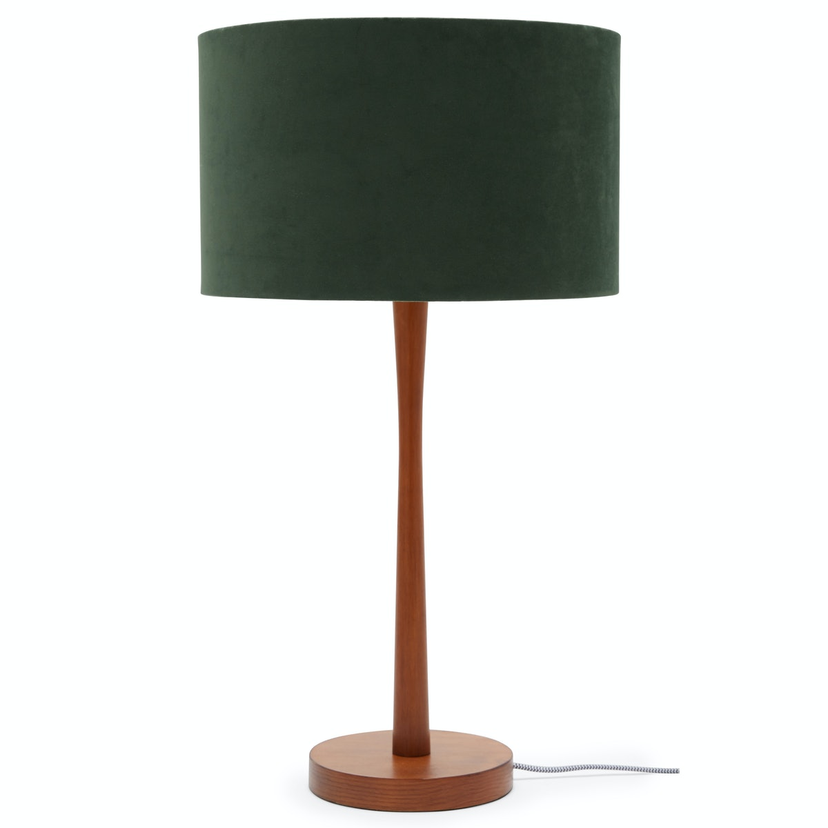 Wood Table Lamp with Green Velvet Shade by Drew Barrymore Flower Home