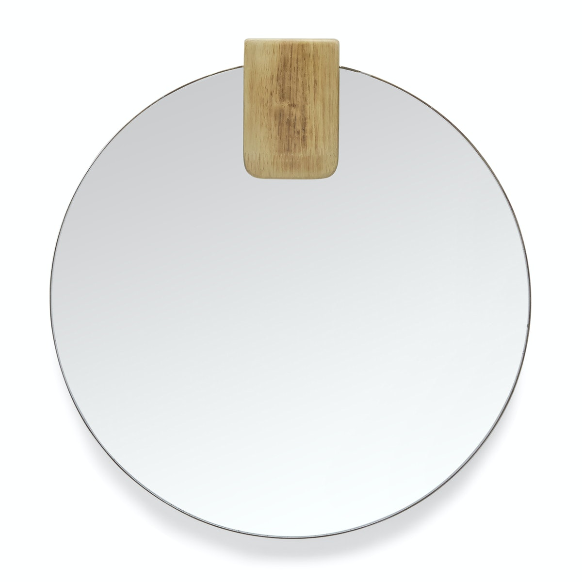 MoDRN Naturals Round Mirror with Wood Accent