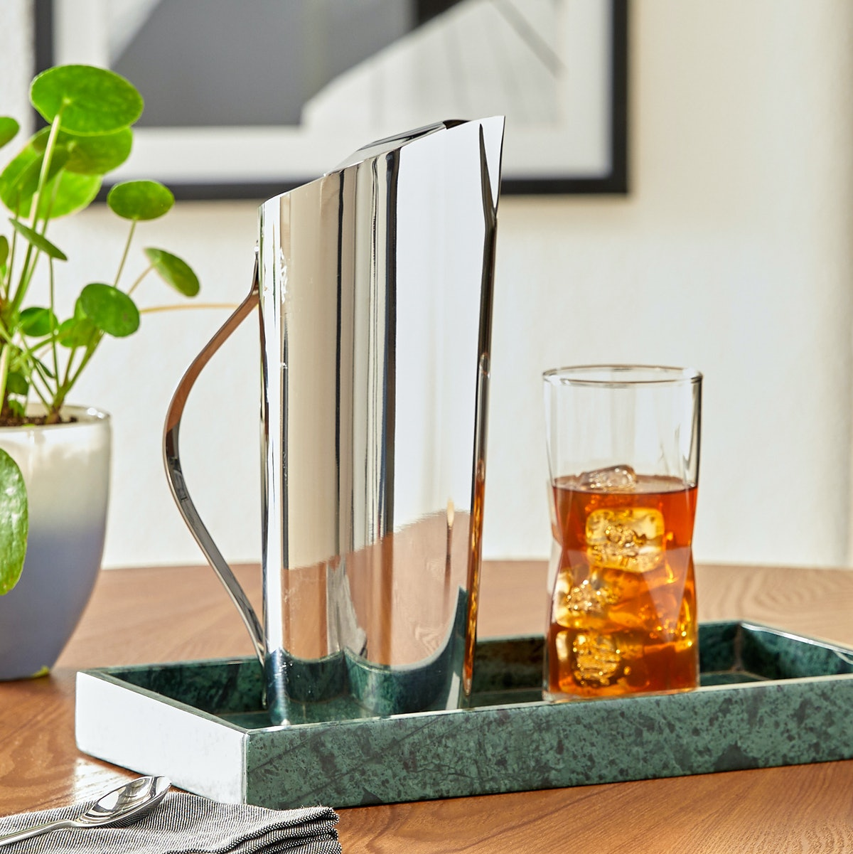 MoDRN Industrial Stainless Steel Asymmetrical Mirrored Water Pitcher