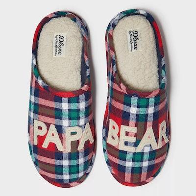 dearfoams Men's Deluxe Papa Bear Slide Slippers