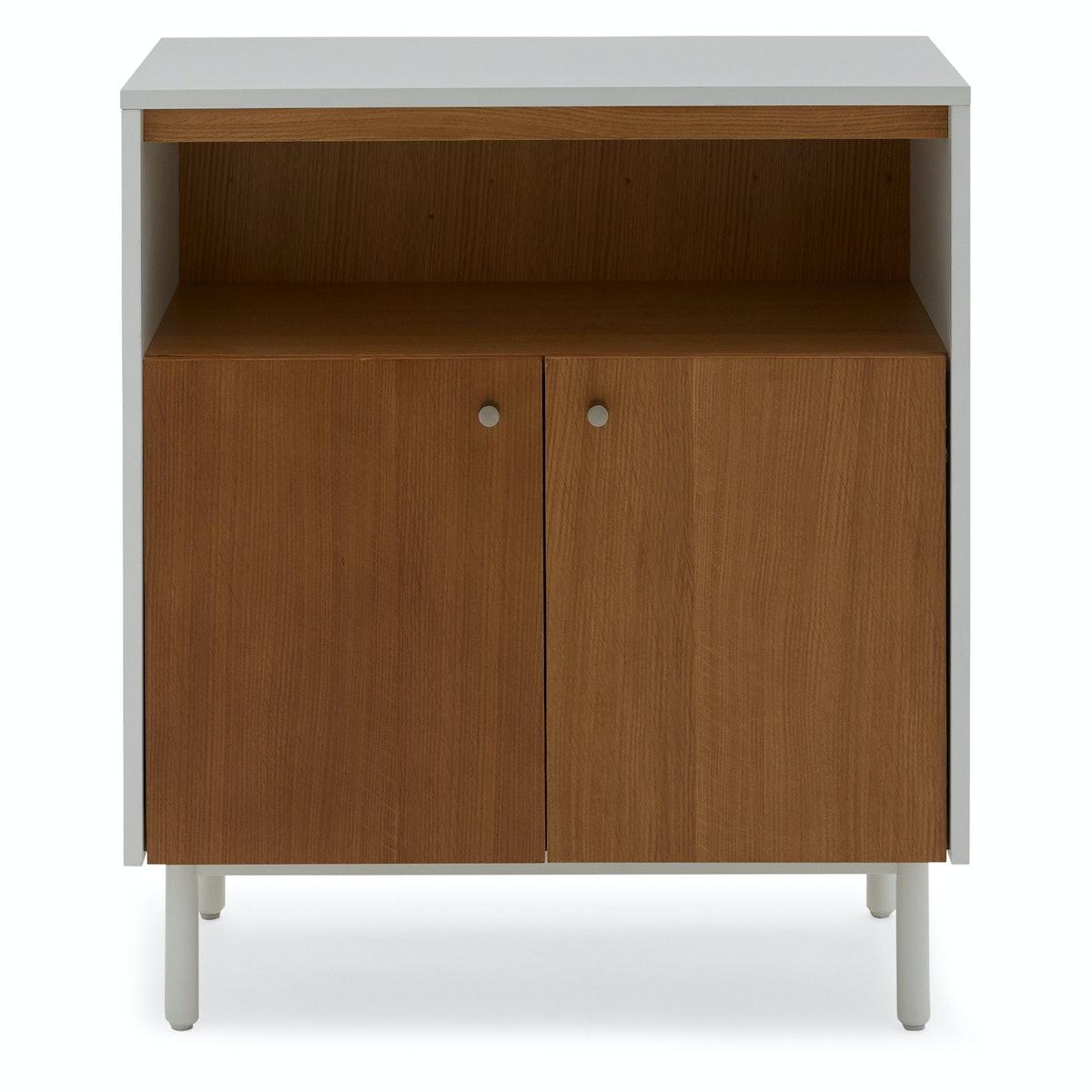 MoDRN Scandinavian Finna Wood Accent Cabinet - White and Light Oak