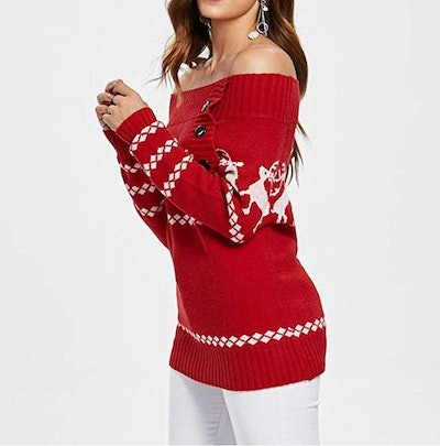 Christmas Tree & Elk Print Off Shoulder Knitted Button Sweater
