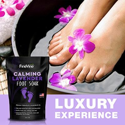 FinVine Organics Calming Lavender Foot Soak with Epsom Salt