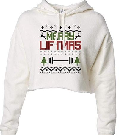 Little Royaltee Shirts Funny Christmas Crop Top Hoodie in 'Bone'