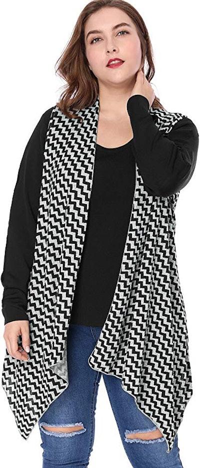 Agnes Orinda Women's Plus Size Patterned Asymmetrical Sleeveless Knit Cardigan