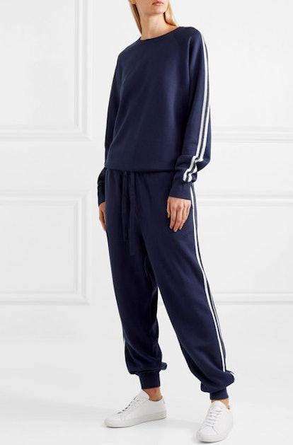 Missy Paris striped silk-blend sweatshirt and track pants set