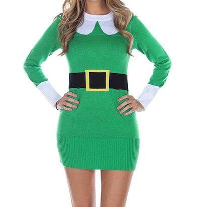 Tipsey Elves Women's Ugly Christmas Sweater - Green Elf Sweater Dress