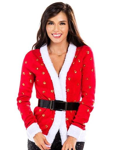 Tipsey Elves Women's Sequin Mrs. Claus Christmas Sweater