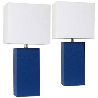 Elegant Designs Blue Leather Table Lamps, Set Of 2