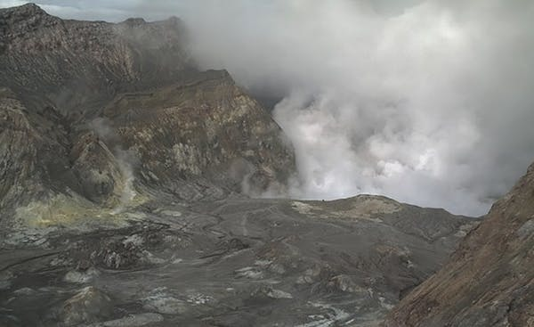 The eruption on White Island sent sent huge amounts of steam and ash into the air in the blast.