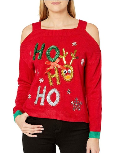Blizzard Bay Women's Kris Kringle Tunic Hockey Jersey Ugly Christmas Sweater in 'Cold Red'