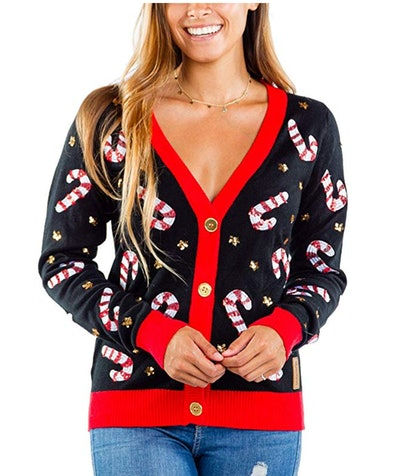 Tipsey Elves Women's Sequin Candy Cane Cardigan