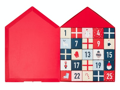 An image of an advent calendar filled with erasers.