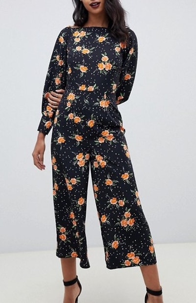 Square Neck Tea Jumpsut In Floral Polka Dot
