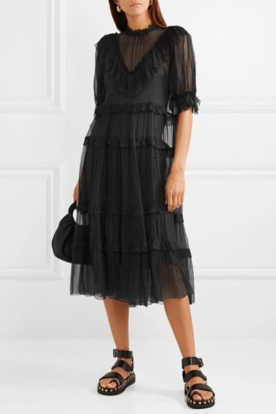 Bluebell Ruffled Silk-Crepon Midi Dress