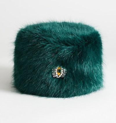 Jewel Eye Faux Fur Hat