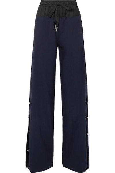Cedric Charlier Shell-Trimmed Wool-Blend Wide Leg Pants