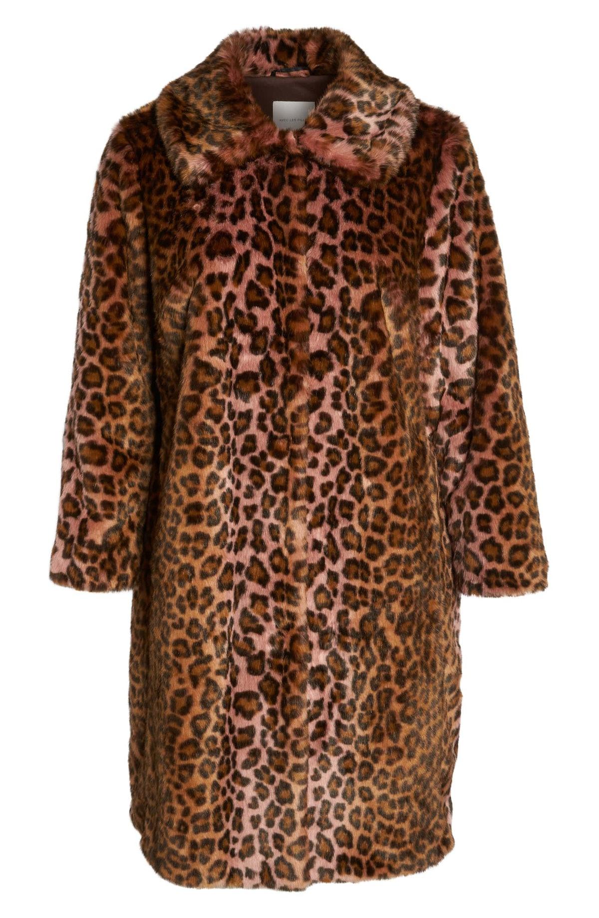 Avec Les Filles Leopard Print Faux Fur Car Coat