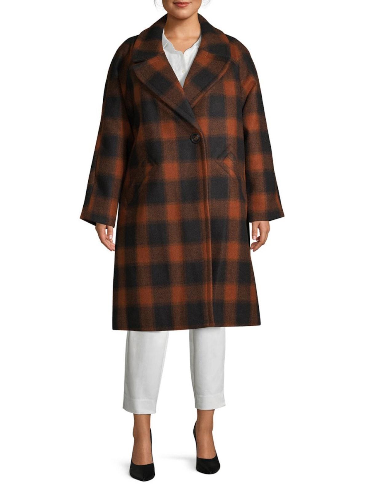 RACHEL Rachel Roy Plus Plaid Longline Coat
