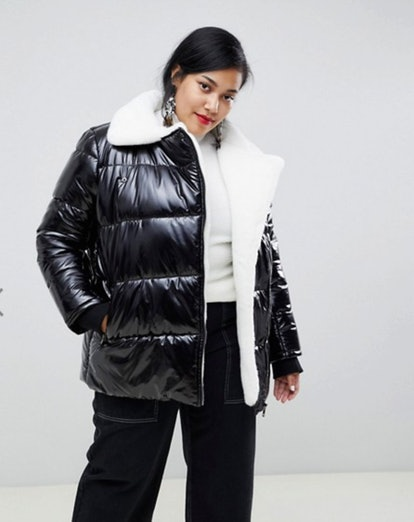 Current Air Plus High Shine Padded Jacket with Faux Fur Lining